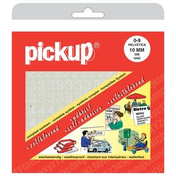 Pickup plakcijfers 0-9 Helvetica wit 10 mm