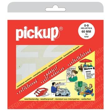 Pickup plakcijfers 0-9 Helvetica wit 60 mm