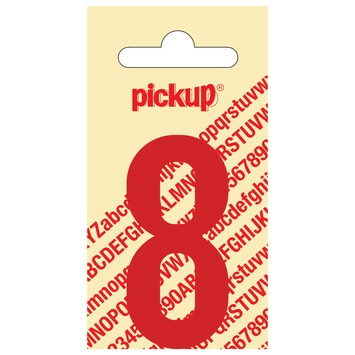 Pickup plakcijfer 8 rood glans 60 mm