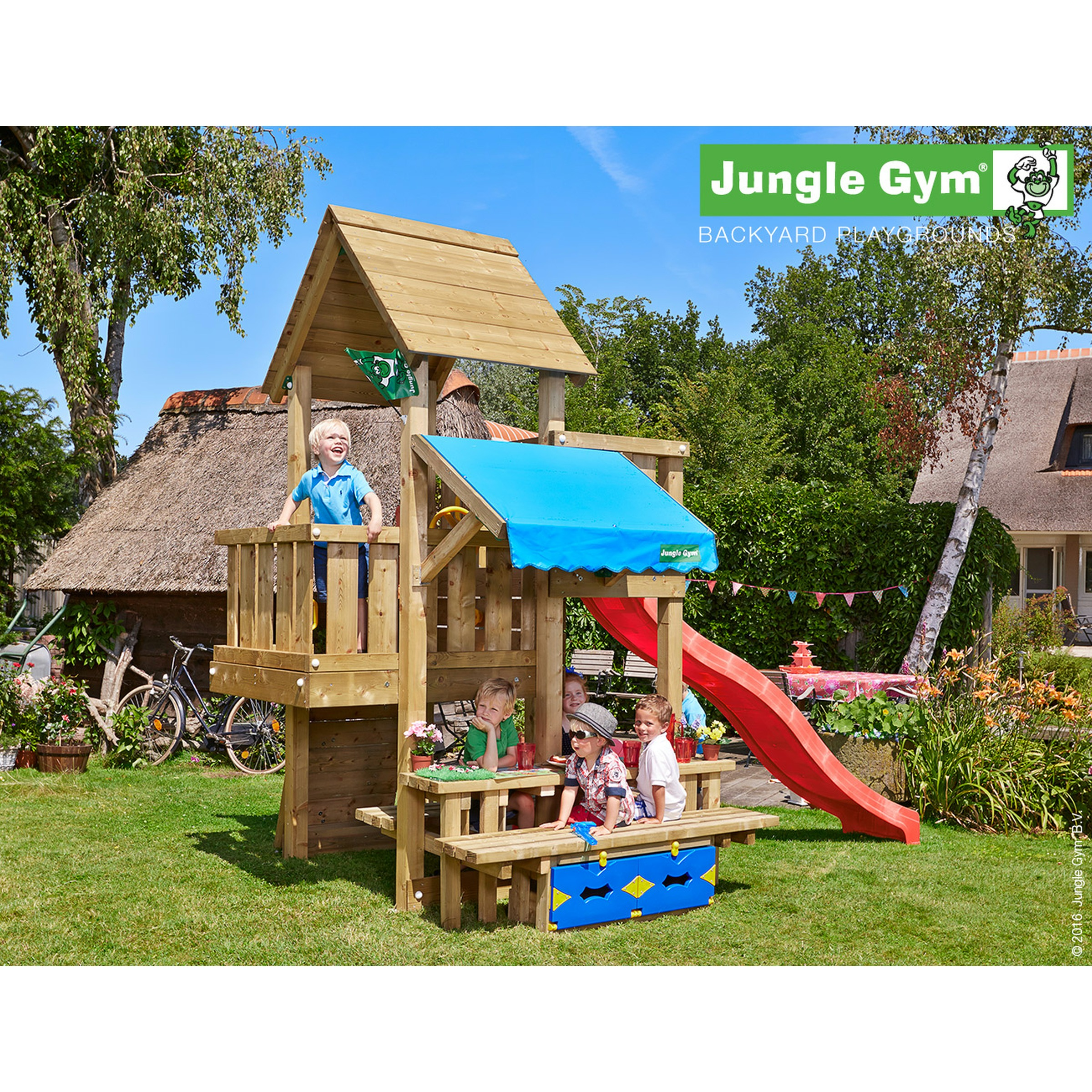 Jungle Gym Cubby Speeltoestel met Glijbaan en Picknicktafel