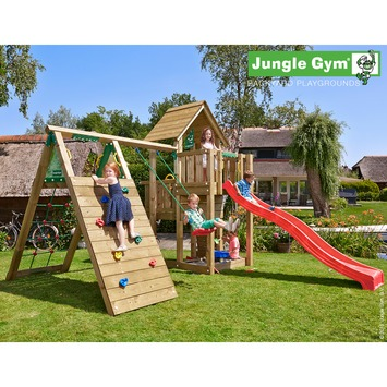 Jungle Gym Cubby Speeltoestel met Glijbaan en Schommel en Klimrek
