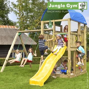 Speeltoestel Jungle Gym Farm met korte gele glijbaan en dubbele schommel
