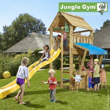 Speeltoestel Jungle Gym Cabin met lange gele glijbaan en winkeltje