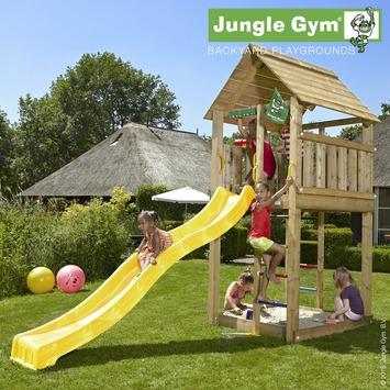 Speeltoestel Jungle Gym Cabin met lange gele glijbaan