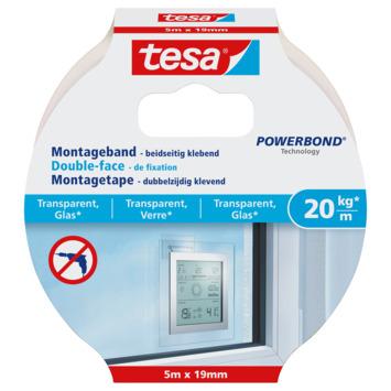 Tesa transparante montagetape 20 kg/m 5 m
