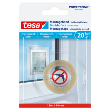 Tesa transparante montagetape 20 kg/m 1,5 m