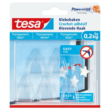 Tesa transparante haak 0,2 kg 5 stuks