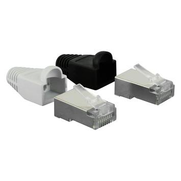 Q-Link UTP connector 4x/kap RJ45 2x zwart wit 8 stuks