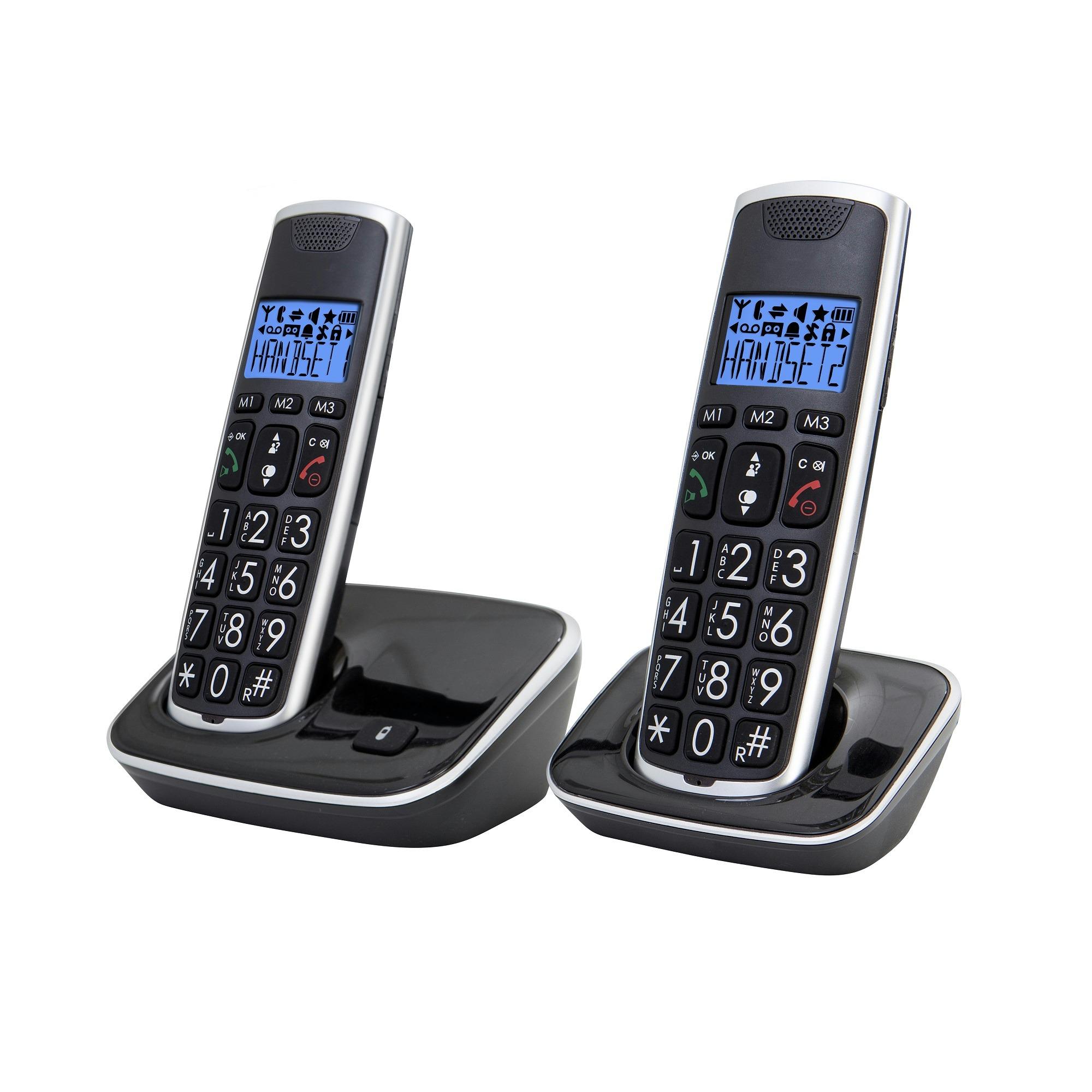 Profoon Dect-telefoon met grote knoppen set van 2 zwart PDX-2728