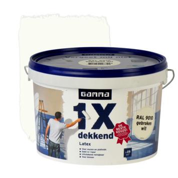 GAMMA latex 1x dekkend RAL 9010 gebroken wit mat 2,5 liter