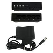 Q-Link UTP netwerkswitch 5 poorten 230 volt zwart