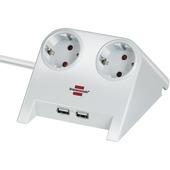 Desktop power wit met 2 USB aansluitingen