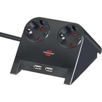 Desktop power zwart met 2 USB aansluitingen