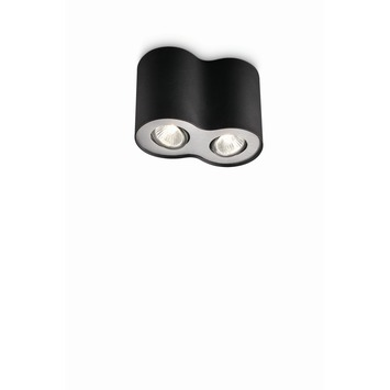 Philips Pillar spot met 2 x ecohalogeen 35W = 45W zwart