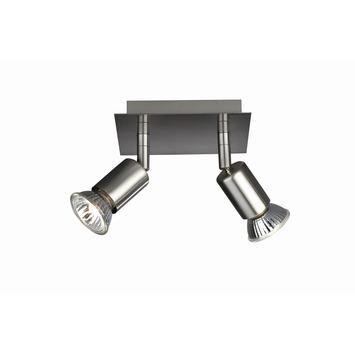 Spotplaat Carrea staal 2-lichts