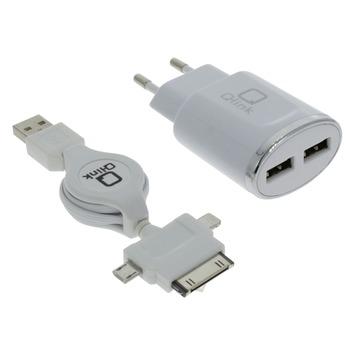 Q-Link Stekkers 230 V 2 USB met Kabelroller Micro iPhone
