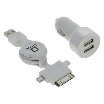 Q-Link Stekkers 12 V 2 USB met Kabelroller Micro iPhone