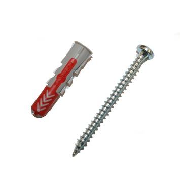 Fischer Duopower plug 5X25 mm met rondkopschroef 18 stuks