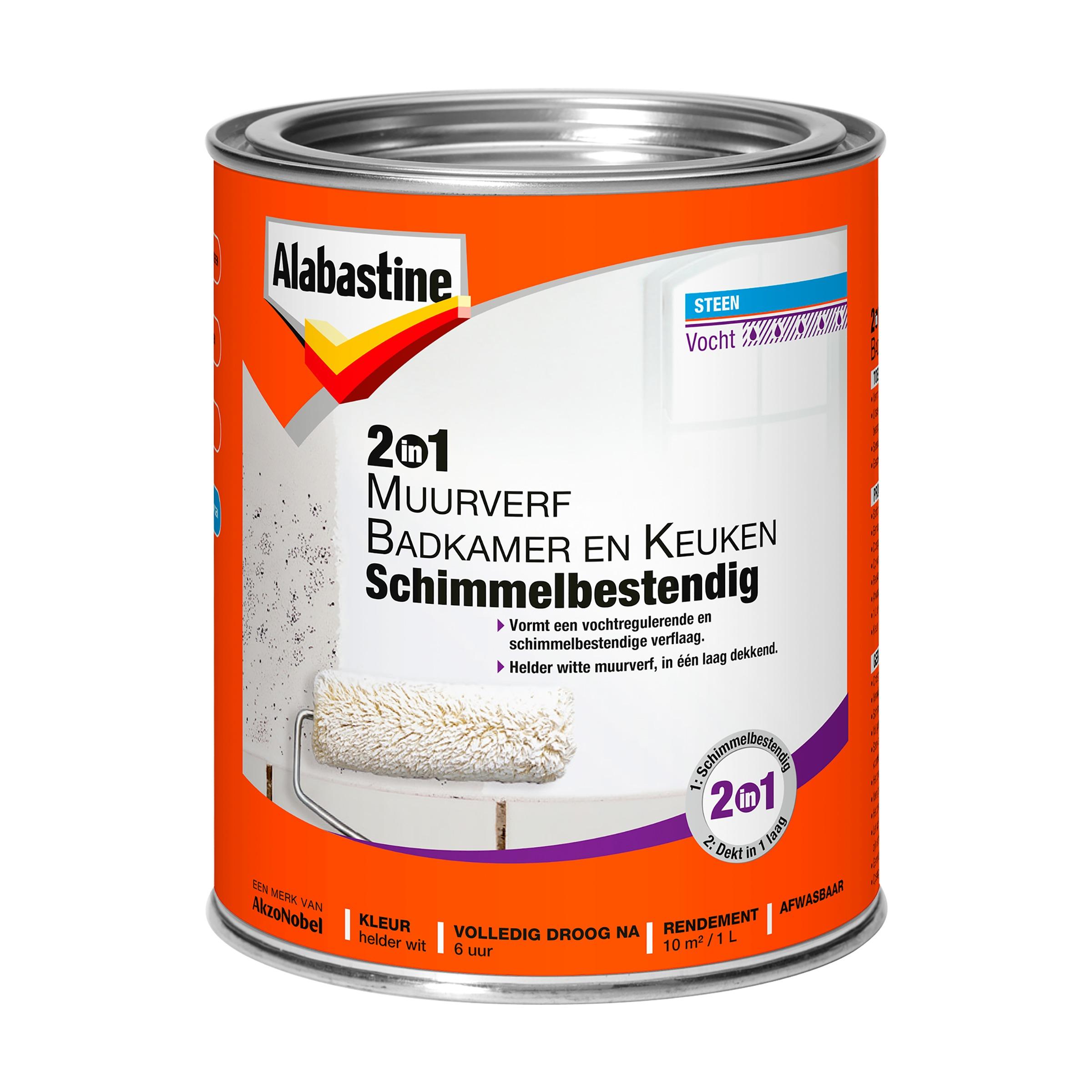 Alabastine muurverf 2-in-1 badkamer en keuken 1 l