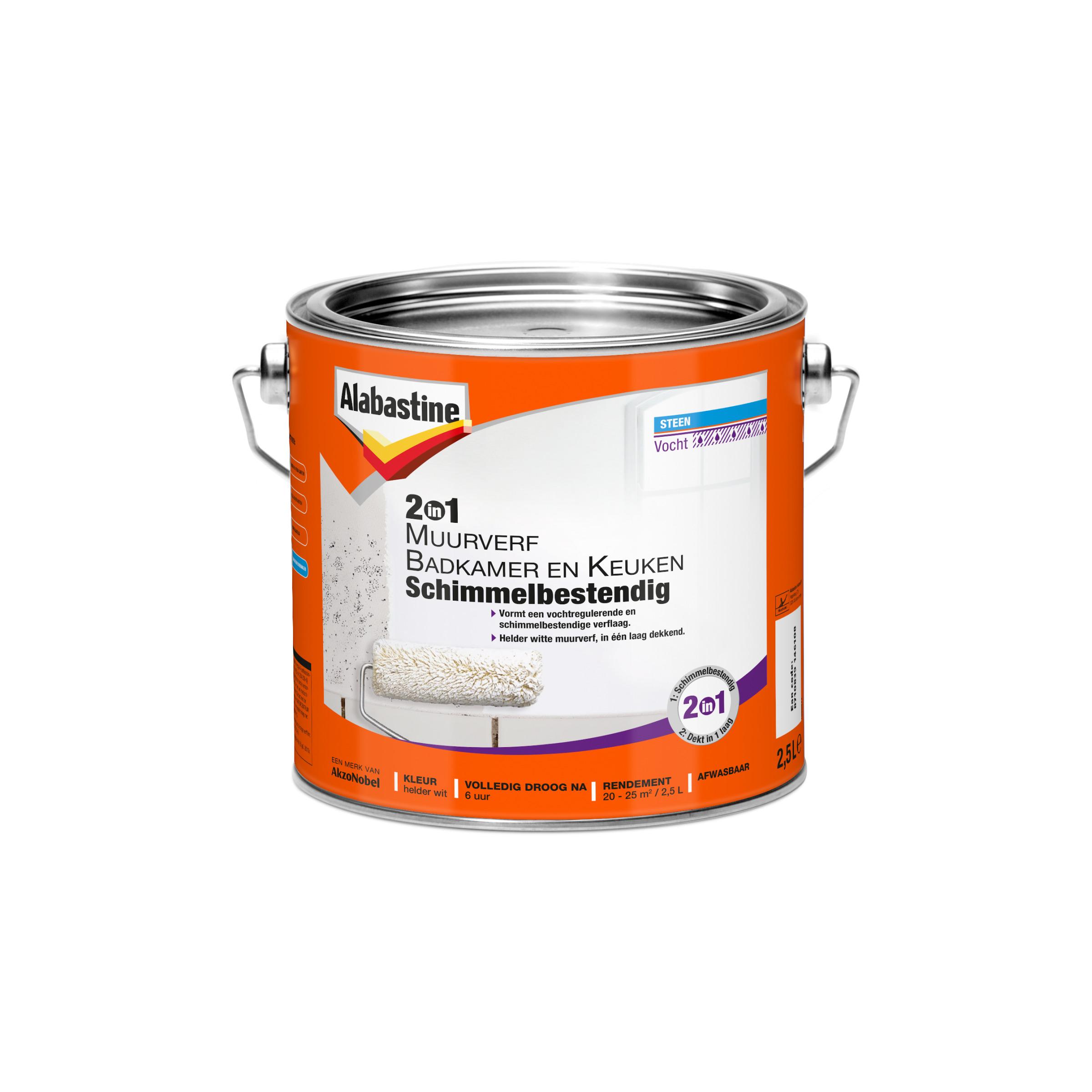 Alabastine muurverf 2-in-1 badkamer en keuken 2,5 l