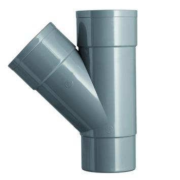 Martens T-stuk 45° PVC grijs 2x lijmverbinding 1x verjongdspie 80x80x80 mm