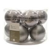 Kerstballen glas grijs Ø6 cm 10 stuks