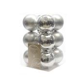 Kerstballen plastic zilver Ø6 cm 12 stuks