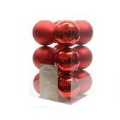 Kerstballen plastic rood Ø6 cm 12 stuks