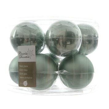 Kerstballen glas glans-mat eucalyptus 10 stuks