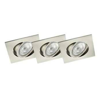 GAMMA inbouwspots LED GU10 3X richtbaar vierkant met staal