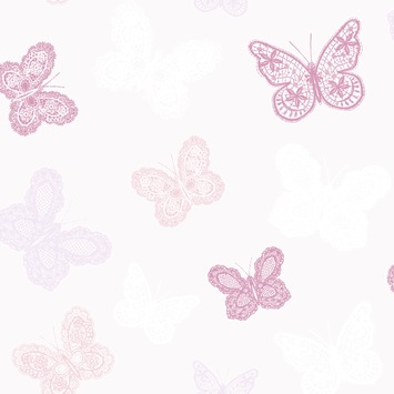 Vliesbehang Vlinders roze 100114