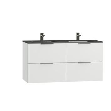 Tiger badkamermeubel Studio 120cm hoogglans wit/matzwart met platte RVS greep