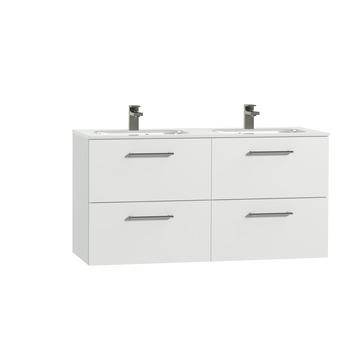 Tiger Studio badkamermeubel 120 cm hoogglans wit met wastafel dubbel keramiek hoogglans wit greep rvs afgerond