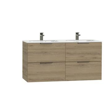Tiger Studio badkamermeubel 120 cm chalet eiken met wastafel dubbel keramiek hoogglans wit greep rvs plat