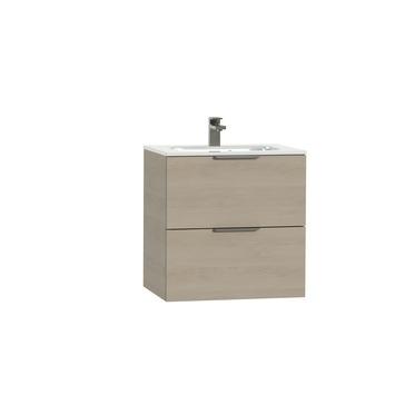 Tiger Studio badkamermeubel 60 cm naturel eiken met wastafel polybeton hoogglans wit greep rvs plat