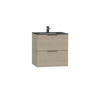 Tiger Studio badkamermeubel 60 cm naturel eiken met wastafel polybeton mat zwart greep rvs plat