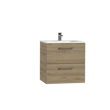 Tiger Studio badkamermeubel 60 cm chalet eiken met wastafel polybeton mat wit greep rvs afgerond