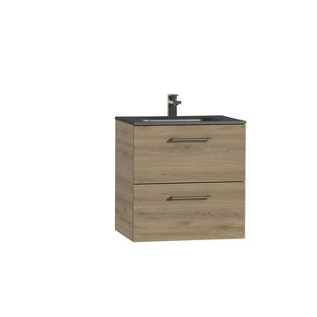 Tiger Studio badkamermeubel 60 cm chalet eiken met wastafel polybeton mat zwart greep rvs afgerond