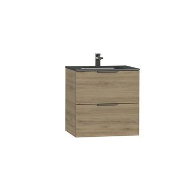Tiger Studio badkamermeubel 60 cm chalet eiken met wastafel polybeton mat zwart greep rvs plat