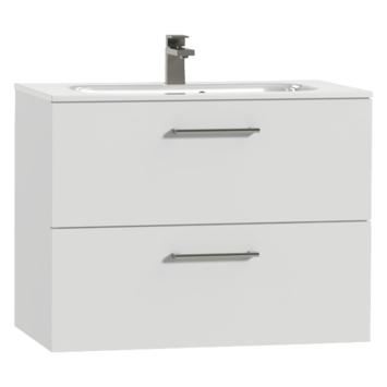 Tiger Studio badkamermeubel 80 cm hoogglans wit met wastafel keramiek hoogglans wit greep rvs afgerond