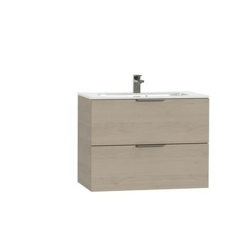 Tiger Studio badkamermeubel 80 cm naturel eiken met wastafel polybeton hoogglans wit greep rvs plat