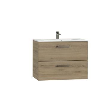 Tiger Studio badkamermeubel 80 cm chalet eiken met wastafel polybeton mat wit greep rvs afgerond