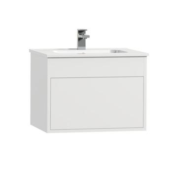Tiger Helsinki badkamermeubel 60 cm hoogglans wit met wastafel keramiek wit