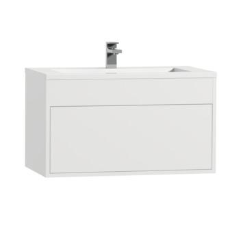 Tiger Helsinki badkamermeubel 80 cm hoogglans wit met wastafel polybeton wit