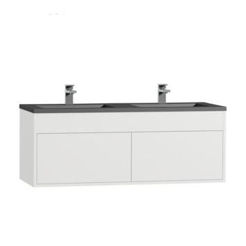 Tiger Helsinki badkamermeubel 120 cm hoogglans wit met wastafel polybeton zwart