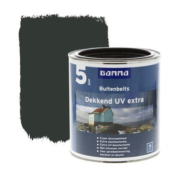 GAMMA buitenbeits dekkend UV extra diep zwart 750 ml