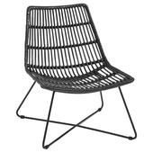 Loungestoel rotan zwart