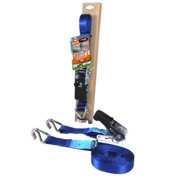 Jumbo spanband blauw 5m 25mm  met rubberen ratel voor extra grip en J haken