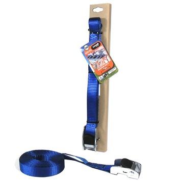 Jumbo spanband blauw 5m 25mm met rubberen gesp voor extra grip