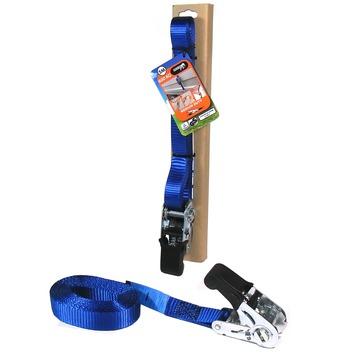 Jumbo spanband blauw 5m 25mm met rubbern ratel voor extra grip